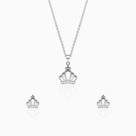 Silver Zircon Crown Set with Link Chain