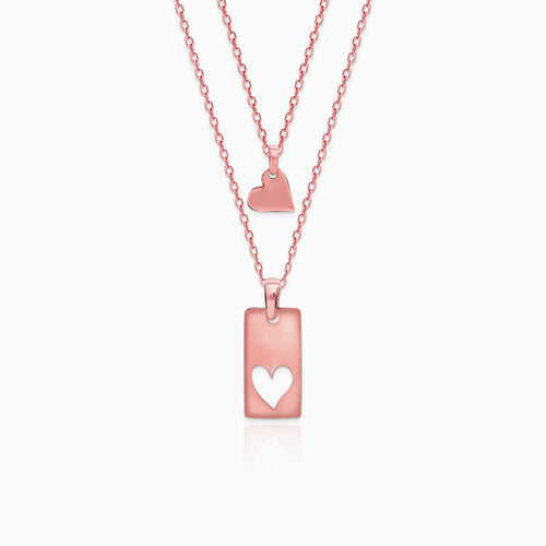 Rose Gold Classic Heart Set with Link Chain
