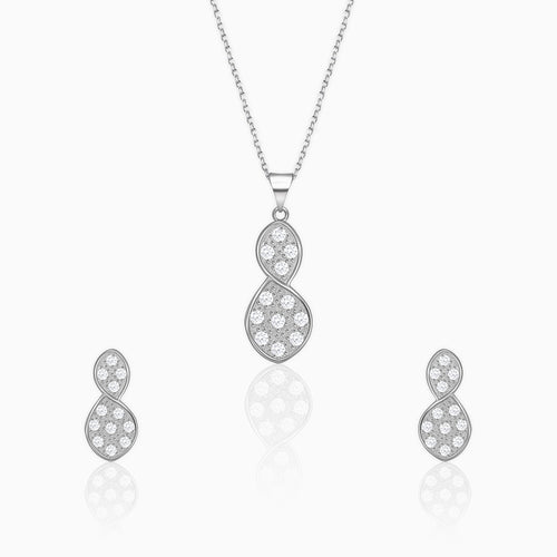 Silver Sparkling Flower Bud Set with Link Chain