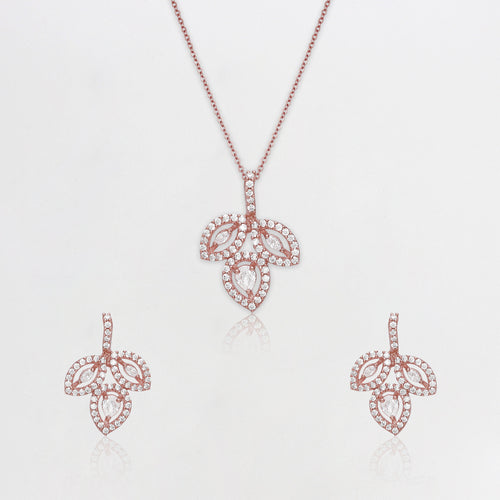 Rose Gold Studded Leaf Set with Link Chain