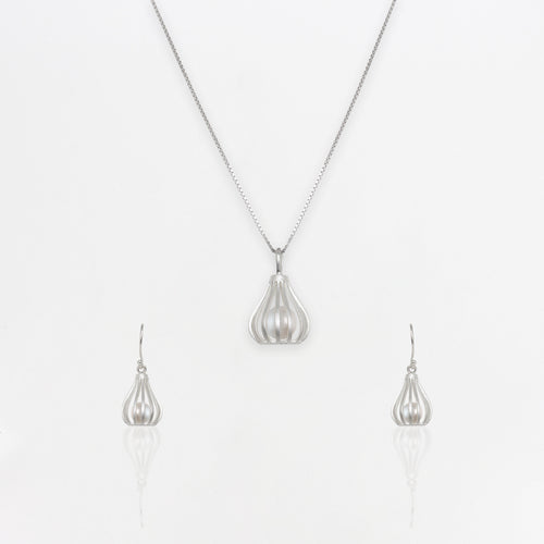 Silver Pearl Cage Set