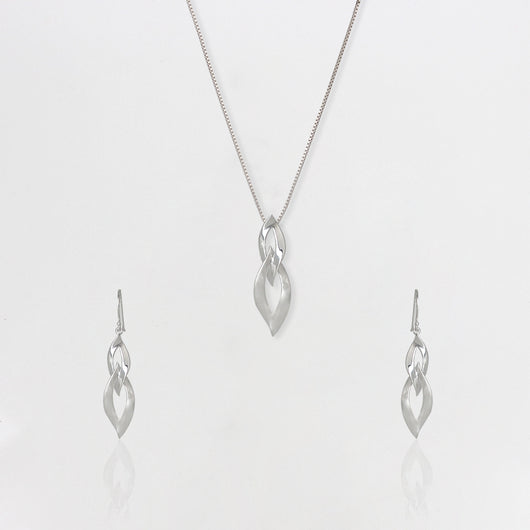 Silver Double Dangle Flame Set