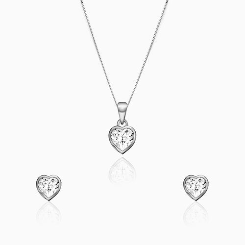 Silver Coeur Set with Box Chain
