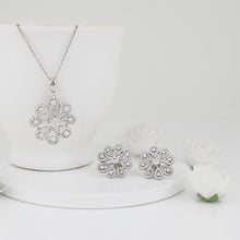 Load image into Gallery viewer, Silver Divine Flower Set with Link Chain