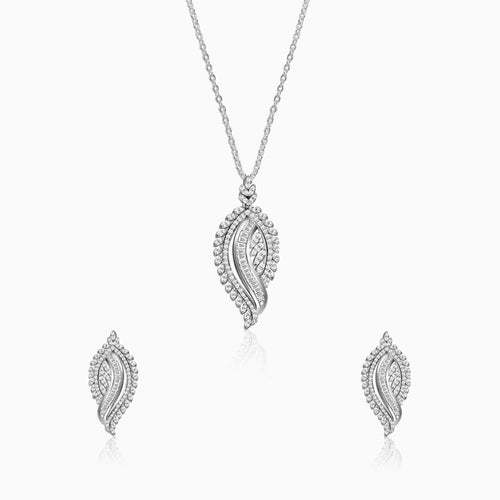 Silver Zircon Studded Leaf Set with Link Chain