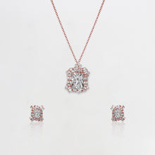 Load image into Gallery viewer, Rose Gold Baguette Romance Set with Link Chain