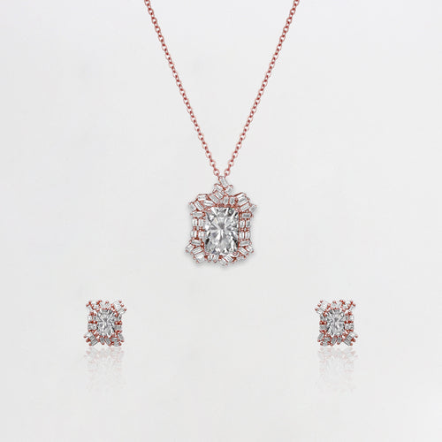 Rose Gold Baguette Romance Set with Link Chain