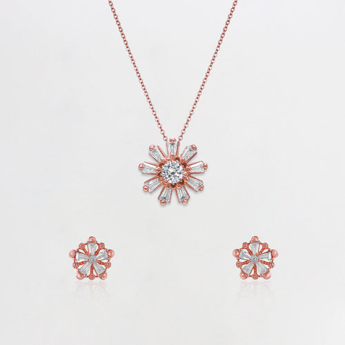 Rose Gold Baguette Flower Set with Link Chain