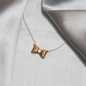 Rose Gold Lace Bow Pendant With Chain-GIVA Jewellery