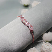 Load image into Gallery viewer, Rose Gold Baguette Wave Silver Bracelet-GIVA Jewellery
