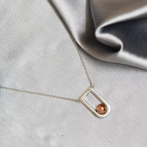 Rose Gold Geosphere Pendant With Silver Chain-GIVA Jewellery