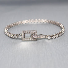 Load image into Gallery viewer, Silver Sparkling Rectangle Bracelet-GIVA Jewellery