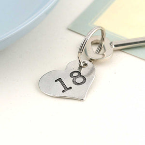 18th Birthday Gift Personalised Pocket Heart Keyring in Pewter. - Multiply Design