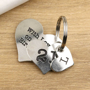 21st Birthday Gift Personalised Heart Keyring in Pewter. - Multiply Design