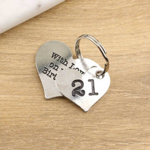 Load image into Gallery viewer, 21st Birthday Gift Personalised Heart Keyring in Pewter. - Multiply Design