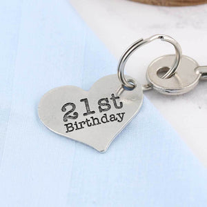 21st Birthday Gift Personalised Large Heart Keyring in Pewter. - Multiply Design