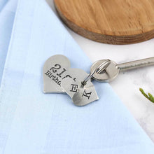 Load image into Gallery viewer, 21st Birthday Gift Personalised Large Heart Keyring in Pewter. - Multiply Design
