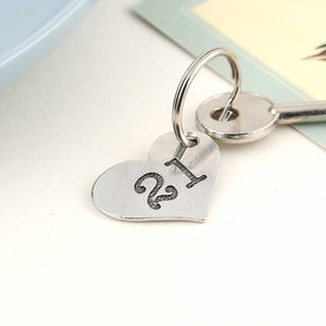 21st Birthday Gift Personalised Pocket Heart Keyring in Pewter. - Multiply Design