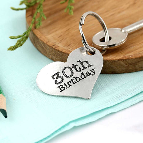 30th Birthday Gift Personalised Large Heart Keyring in Pewter. - Multiply Design