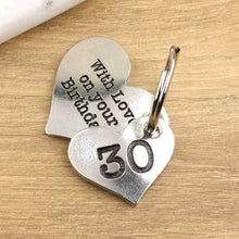 Load image into Gallery viewer, 30th Birthday Gift Personalised Pewter Heart Keyring. - Multiply Design