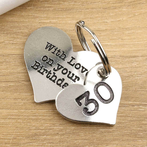 30th Birthday Gift Personalised Pewter Heart Keyring. - Multiply Design