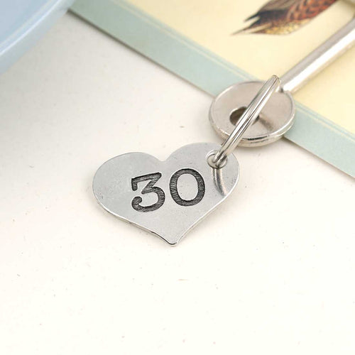 30th Birthday Gift Personalised Pocket Heart Keyring in Pewter. - Multiply Design