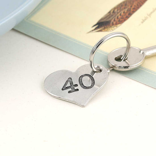 40th Birthday Gift Personalised Pocket Heart Keyring in Pewter. - Multiply Design