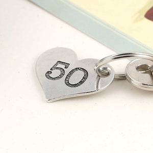 50th Birthday Present Personalised Pocket Heart Keyring in Pewter. - Multiply Design