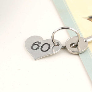 60th Birthday Gift Personalised Pocket Heart Keyring in Pewter. - Multiply Design