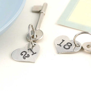 18th Birthday Gift Personalised Pocket Heart Keyring in Pewter.