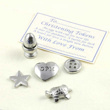 Load image into Gallery viewer, A personalised pewter christening token set