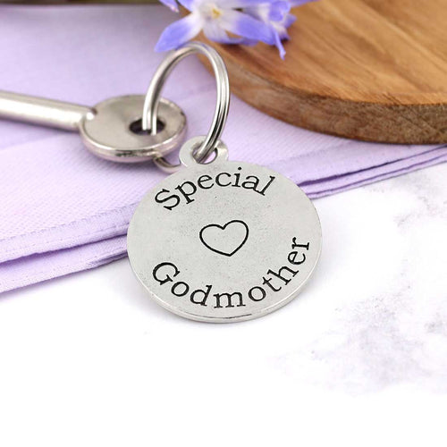 Special Godmother Personalised Round Pewter Keyring Gift.
