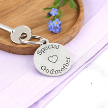 Load image into Gallery viewer, Special Godmother Personalised Round Pewter Keyring Gift.