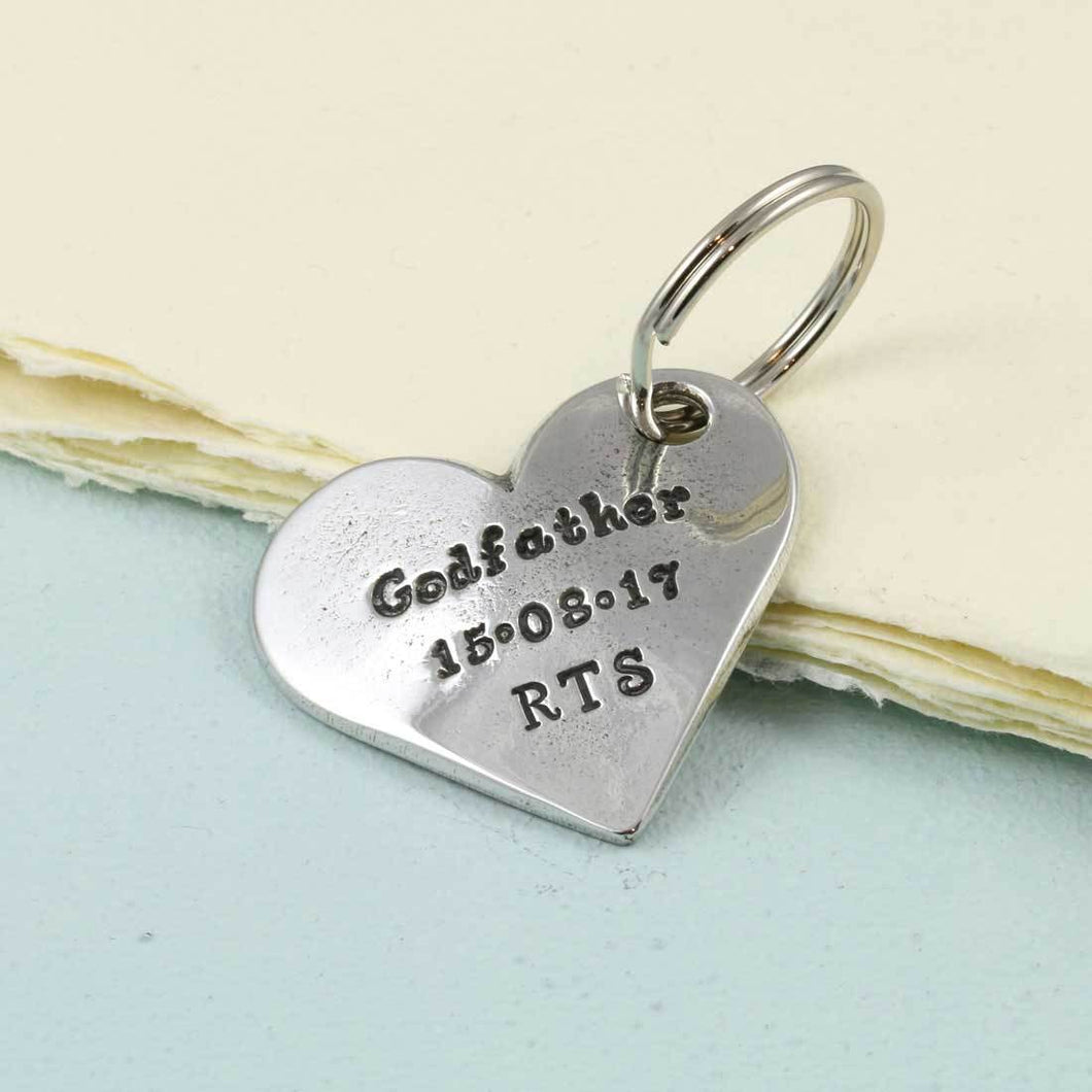 A personalised godparent gift pewter heart keyring - Multiply Design