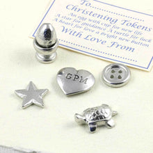 Load image into Gallery viewer, A personalised pewter christening token set - Multiply Design