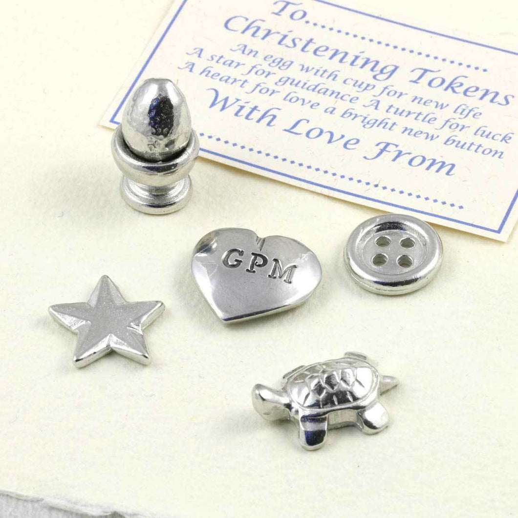 A personalised pewter christening token set - Multiply Design