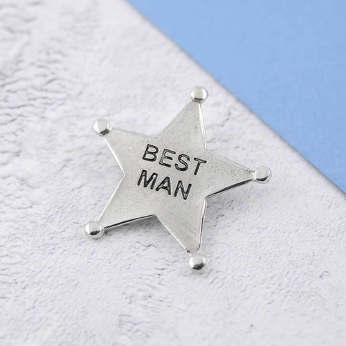 A Pewter Best Man Sheriffs Badge - Multiply Design