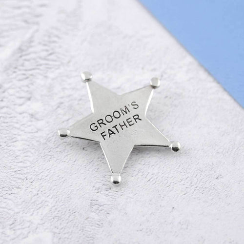 A Pewter Groom's Father Sheriffs Badge - Multiply Design