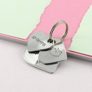 Anniversary Gift Double Heart Personalised Pewter Keyring. - Multiply Design