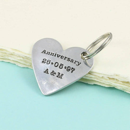 Anniversary Gift for Couples Personalised Pewter Heart Keyring. - Multiply Design