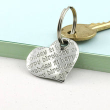 Load image into Gallery viewer, Birthday Gift Pewter Pocket Heart Keyring. - Multiply Design