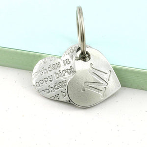 Birthday Gift Pewter Pocket Heart Keyring. - Multiply Design