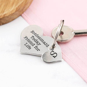 Bridesmaid And Friend Personalised Heart Keyring - Multiply Design