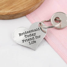 Load image into Gallery viewer, Bridesmaid And Friend Personalised Heart Keyring - Multiply Design