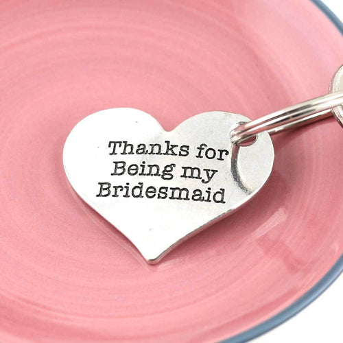 Bridesmaid Thank You Gift Personalised Pewter Heart Keyring - Multiply Design