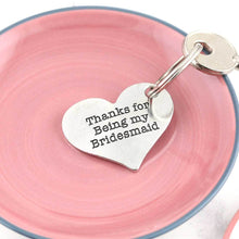 Load image into Gallery viewer, Bridesmaid Thank You Gift Personalised Pewter Heart Keyring - Multiply Design