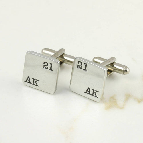 Double Initial and Number Square Pewter Cufflinks Birthday Gift. - Multiply Design