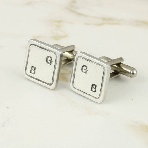 Double Initial Square Pewter Cufflinks - Multiply Design