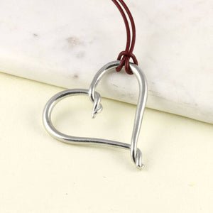 Entwined Heart Pewter necklace pendant on Greek Leather thong - Multiply Design