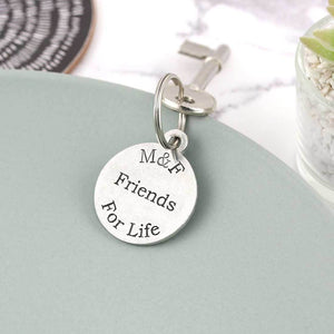 Friendship Gift Personalised Initials Round Pewter Keyring - Multiply Design